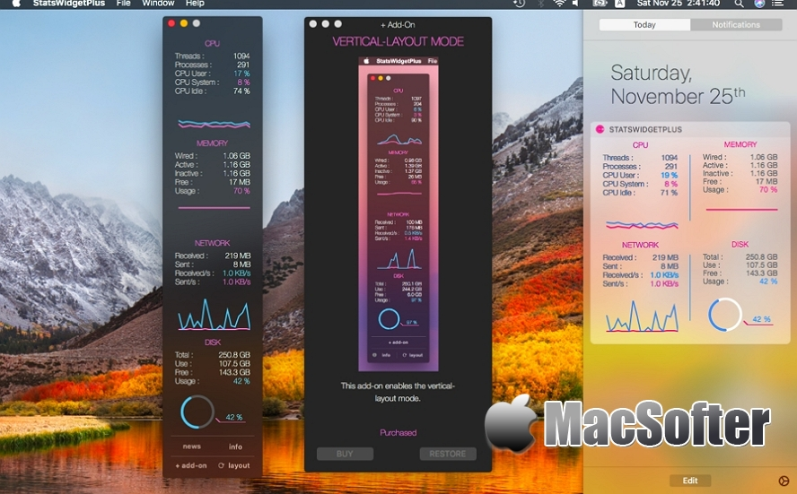 [Mac] StatsWidget Plus : 系统运行状况监测工具