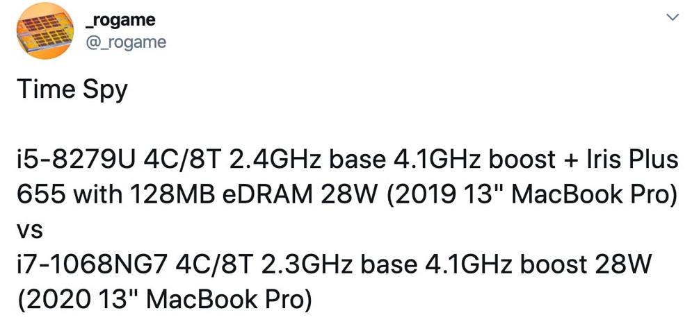 2020新款13寸MacBook Pro参数曝光 - 搭载新款10纳米处理器