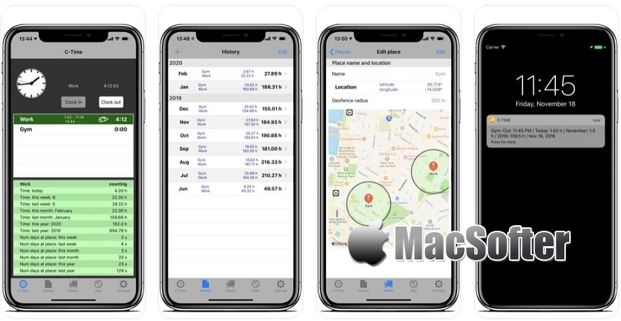 [iPhone限免] C-Time :基于地点的时间统计软件 iOS限免 第1张