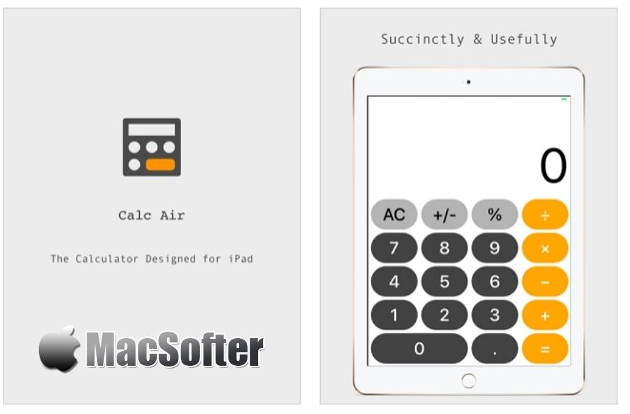 [iPad限免] Calc Air : 按钮超大的iPad计算器 iOS限免 第1张