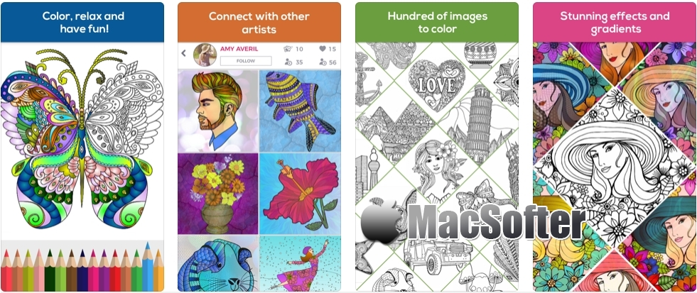 [iPhone/iPad限免] iColor Club: Coloring book and pages for Adults 着色书软件