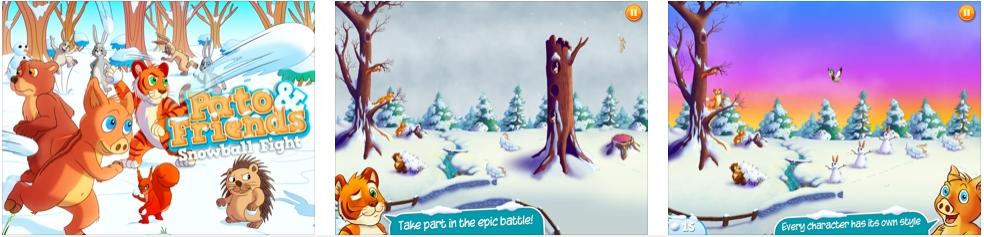 [iPad限免] Pato & Friends Snowball Fight HD :卡通风格雪地战争游戏