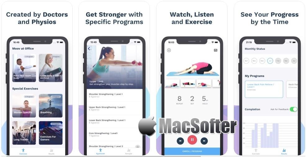 [iPhone/iPad免费] Back Pain Relief - MoovBuddy :肩颈腰背酸痛康复练习健身应用