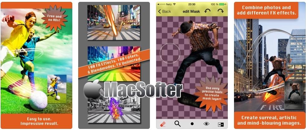 [iPhone限免] TwoPics FX : 照片合成特效软件 iOS限免 第1张