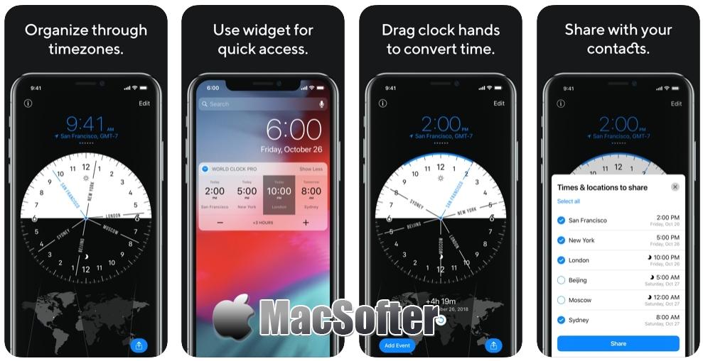 [iPhone限免] World Clock Pro Mobile : 简单而强大的世界时钟软件