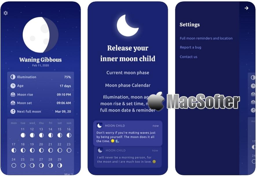 [iPhone限免] Moon Child : 月相日历软件