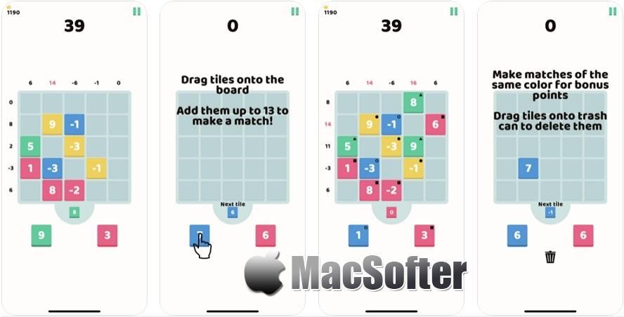 [iPhone/iPad限免] 13's :休闲类数字方块计算游戏