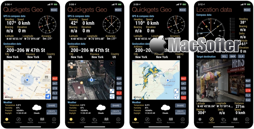 [iPhone/iPad限免] Quickgets Geo :专业级地理气候指南针工具
