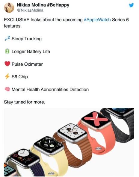 Apple Watch Series 6 遭爆料:会有5大亮点功能,提升疾病侦测能力