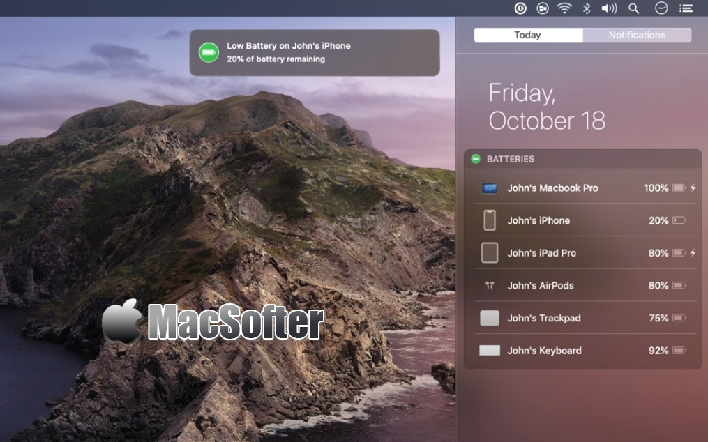 Batteries for Mac :蓝牙外设电量监测工具