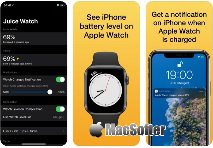 [iPhone/Apple Watch限免] Juice Watch :iPhone及Apple Watch电量互相提醒工具