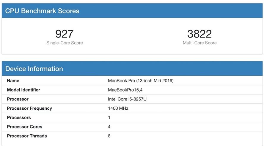 Macbook Pro 13 2019 i5 版跑分