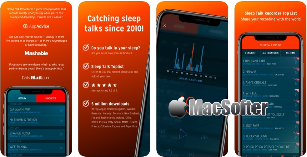 [iPhone限免] Sleep Talk Recorder : 睡觉说梦话记录软件
