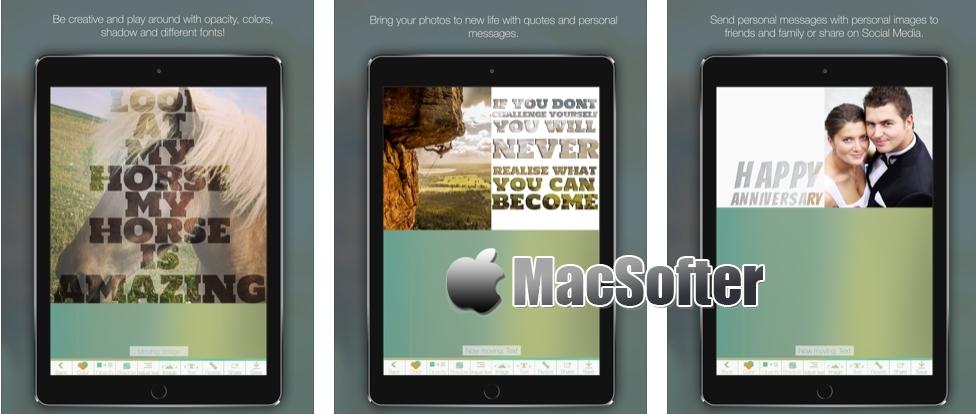 [iPhone/iPad限免] Pexture : 给照片添加艺术效果文字的工具
