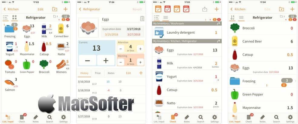 [iPhone/iPad限免] My Inventory int. Viewer :家庭食物库存管理工具