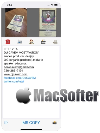 [iPhone限免] MR COPY :名片信息识别软件