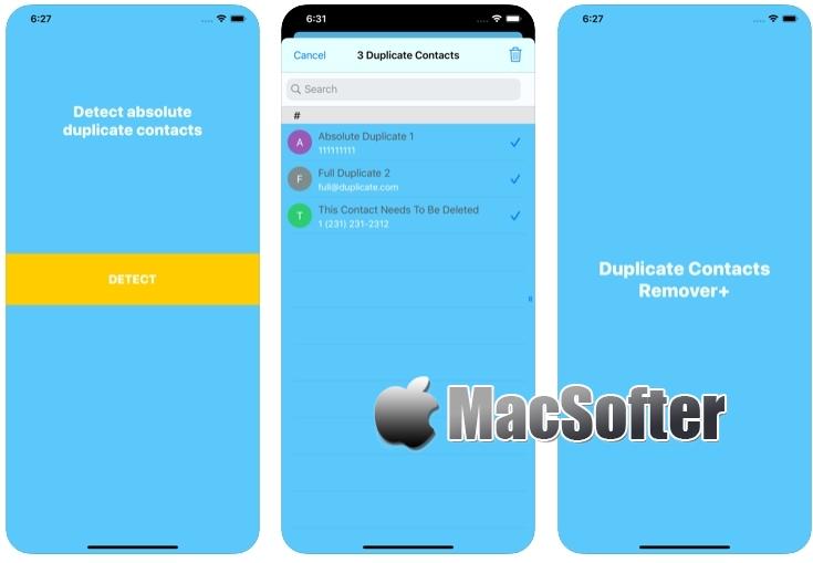[iPhone/iPad限免] Duplicate Contacts Remover+ : 重复联系人信息扫描删除工具