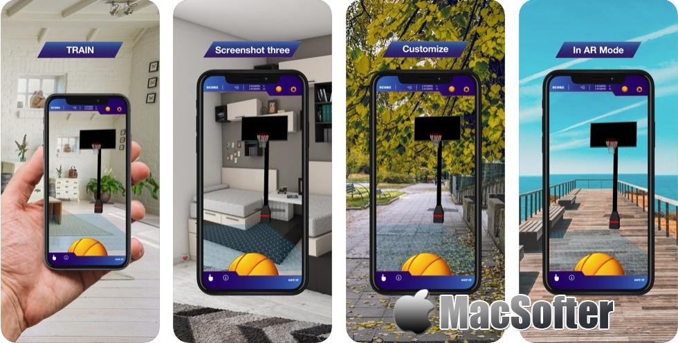 [iPhone/iPad限免] Hoops AR BasketBall Hard Mode : AR虚拟实景投篮游戏