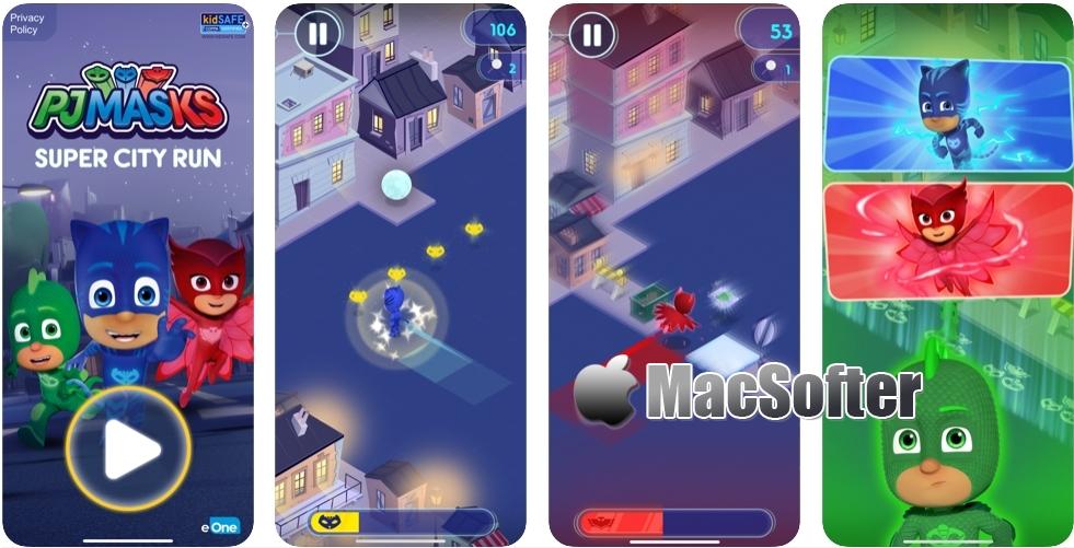 [iPhone/iPad限免] PJ Masks™:Super City Run - 城市夜跑冒险游戏