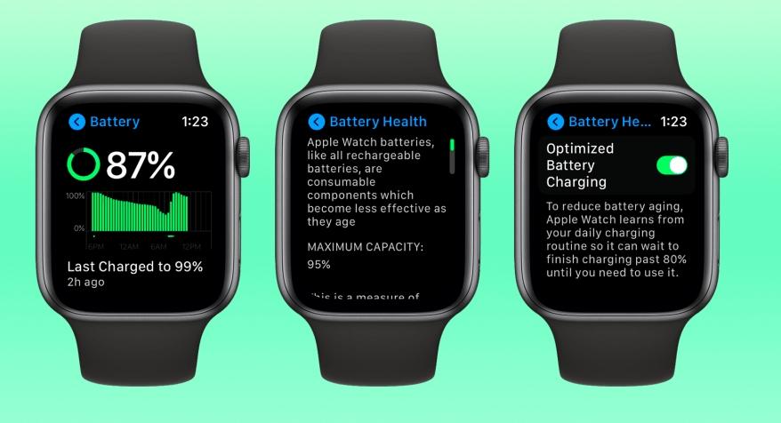 watchOS 7 为Apple Watch加入电池健康管理功能