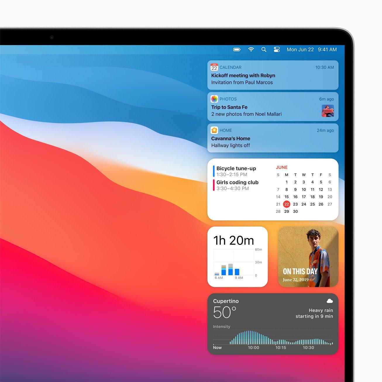Big Sur的通知中心也作出改进,现在可加入更多不同大小的Widget,方便用户即时获得相关信息。