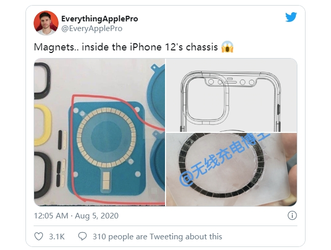 疑似iPhone 12 机壳内部照片泄漏 :内部有磁铁