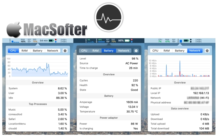 [Mac] Stats : 菜单栏系统信息监测工具
