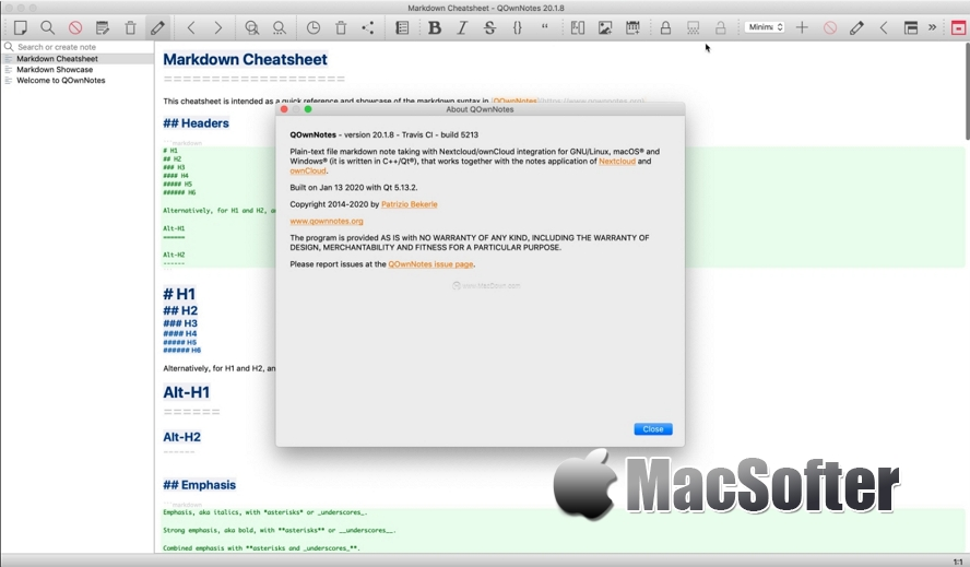 QOwnNotes for Mac :支持Markdown的笔记软件