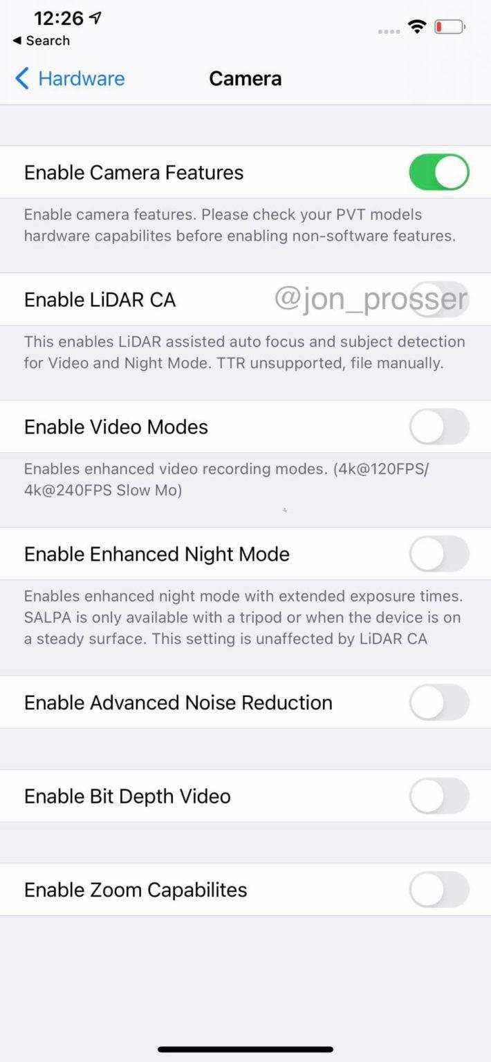 iPhone12 Pro 测试机证实支持120hz屏幕、LiDAR镜头