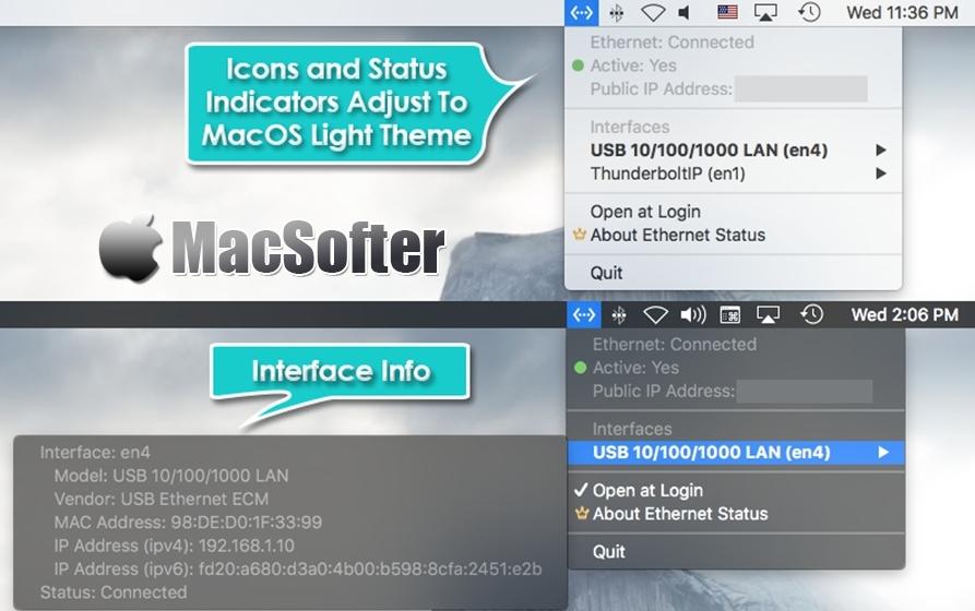 Ethernet Status for Mac : 菜单栏网络连接状态显示工具