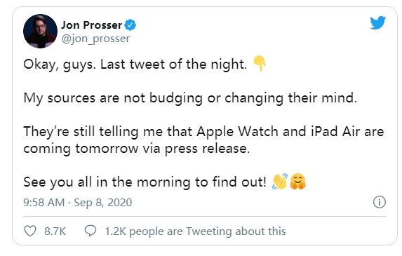 新iPad Air及Apple Watch或将于今晚发布