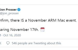 知名爆料:Apple Silicon Mac将会在11月17日发布