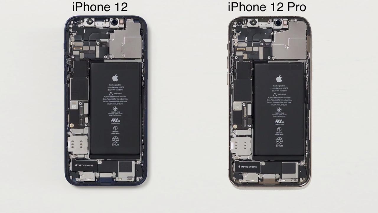 iPhone 12及iPhone 12 Pro两台机的分别主要在摄影及机身上,其余的差距不算太大。而来自艾奥科技的解拆iPhone 12 / iPhone 12 Pro所发现,iPhone 12及iPhone 12 Pro有非常当组件也是相同,当中包括电池,同为2815mAh(比iPhone 11的3110mAh少了约10%)。