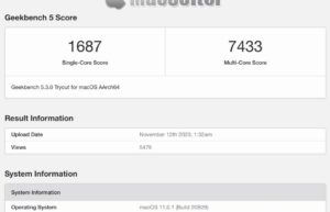 MacBook Air M1 GeekBench跑分击败i9版MacBook Pro 16