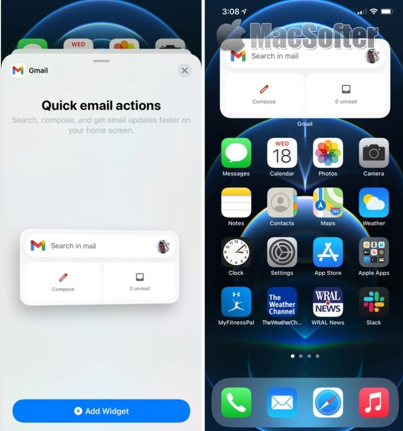 Gmail支持iPhone/iPad桌面小工具:快速搜索、新建和阅读邮件
