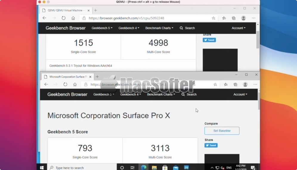 M1版Mac运行Windows ARM版速度比Surface Pro X快近2倍