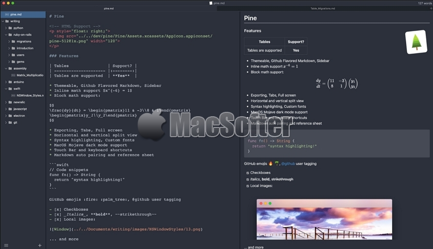 Pine for Mac : 轻量级的Markdown编辑器