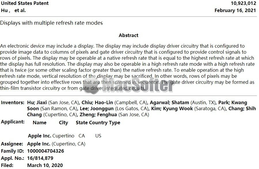 苹果获得iPhone屏幕专利:刷新率最高可达240Hz