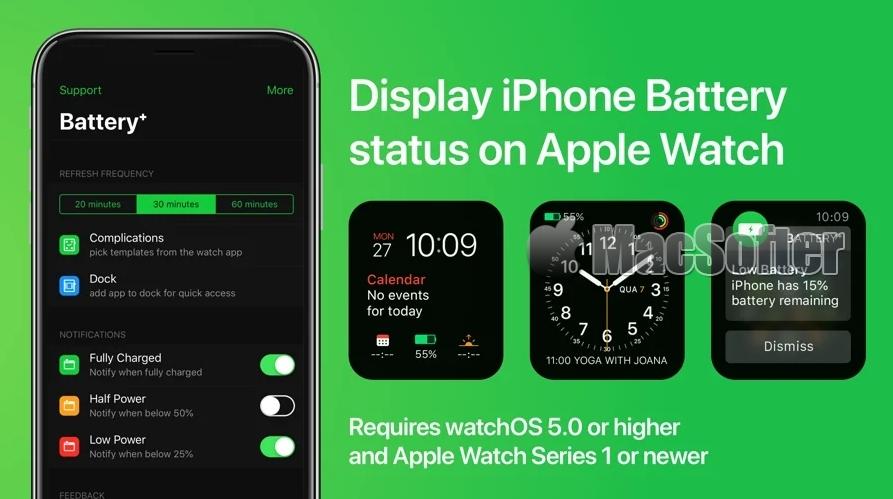 [iPhone限免] Battery⁺ :在Apple Watch上查看iPhone电量状态