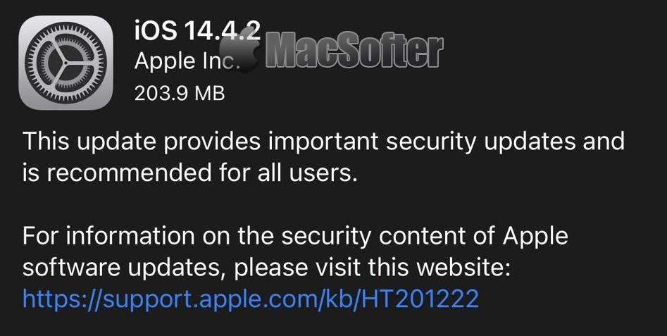 苹果发布iOS 14.4.2 与iOS 12.5.2 重要安全性更新