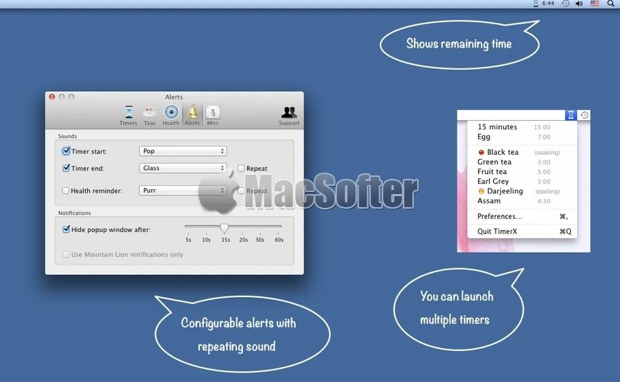 [Mac] TimerX : Mac的菜单栏计时器提醒工具