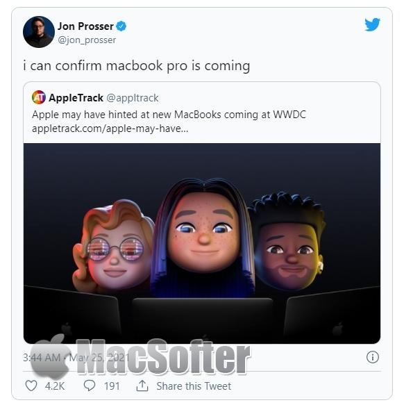 爆料称Macbook Pro 2021即将下月WWDC发布