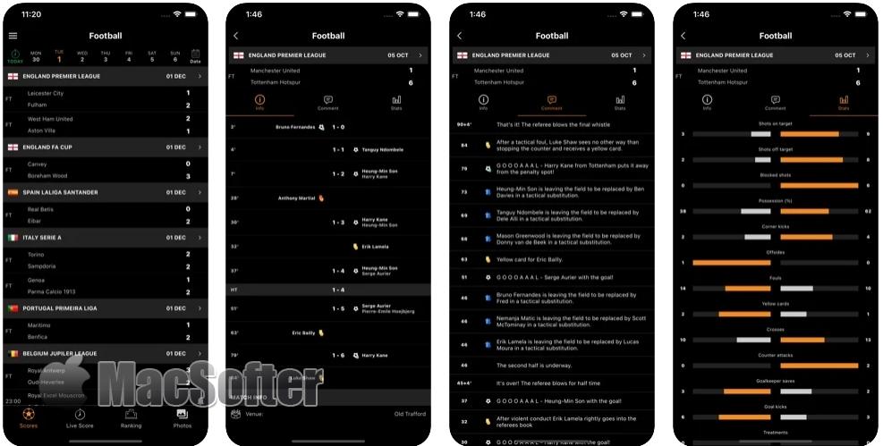 [iPhone限免] LiveScore Football TV :足球比赛信息实时文字直播软件