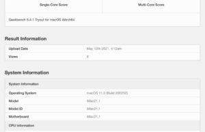 M1 iMac跑分曝光 : 比 x86同系快56%