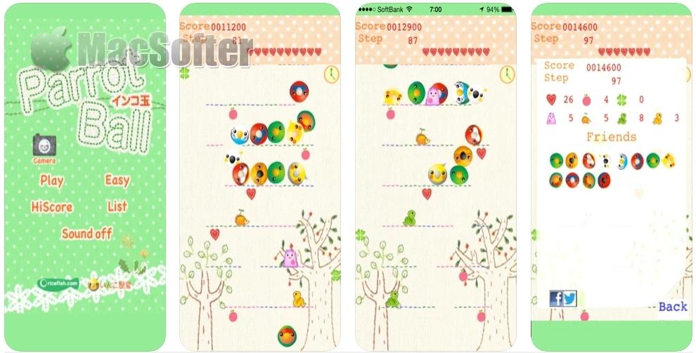 [iPhone/iPad限免] インコ玉 / ParrotBall :滚来滚去的鹦鹉球可爱小游戏