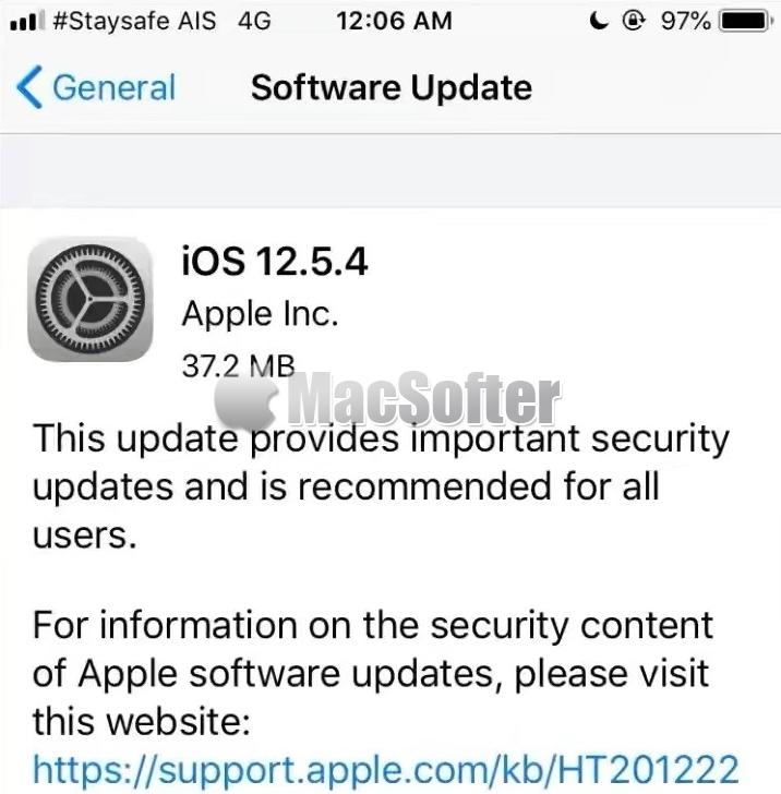 Apple为老设备推出iOS 12.5.4更新