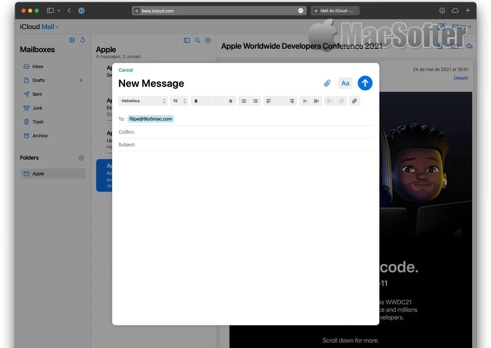 苹果重新设计网络版iCloud邮件:和macOS风格更加一致
