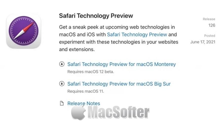 Safari技术预览版TP 126开放下载:含macOS Monterey功能