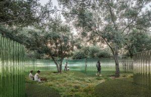 苹果总部将展出400根波浪玻璃圆柱的《海市蜃楼》幻境