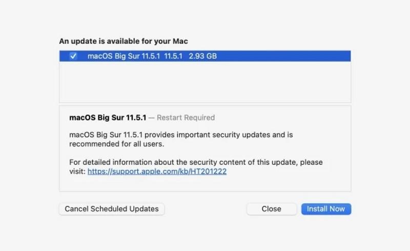 macOS 11.5.1更新开放下载:苹果建议用户安装重要安全更新